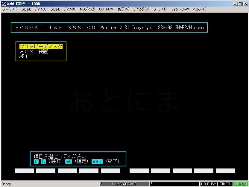 Formatツール起動時の画面